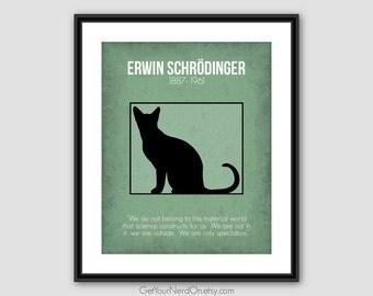 Erwin Schrodinger, Nerdy Physics Decor, Science Geek Gifts, Schrodinger's Cat