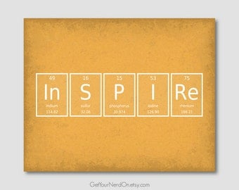 Periodic Element Word Poster - Inspire - Wall Art Print - Available as 8x10, 11x14 or 16x20