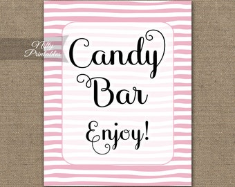 Candy Bar Sign - Pink Stripe Candy Buffet - Pink & White Printable Candy Table Signs - Wedding Bridal Baby Shower Candy Sign DSP