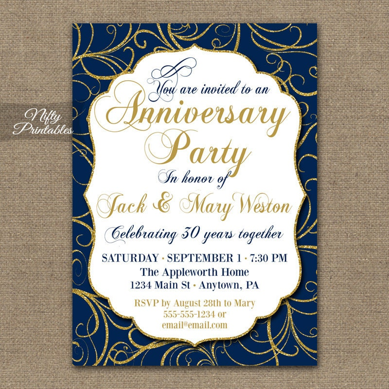 Blue Gold Anniversary Invitations Printable Navy Blue