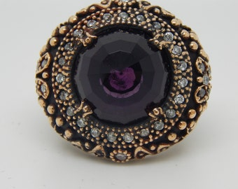Turkish Ring Traditional Ottoman 925 Sterling Silver Ring Amethyst  Gemstone Stone , Vintage Style Ring,
