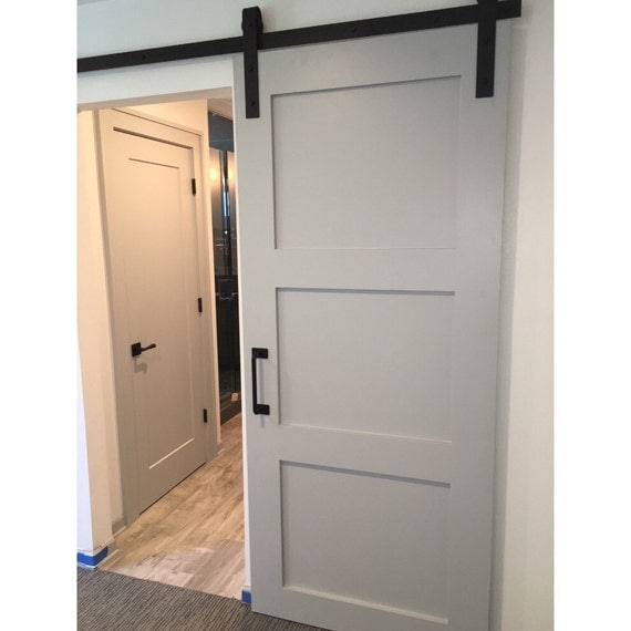 3 Panel Design Painted Sliding Barn Door