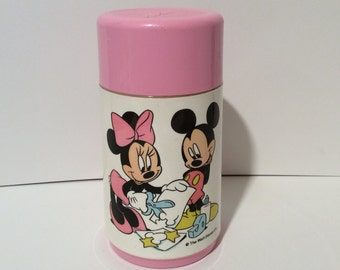 Vintage 1980s Mickey and Minnie Pink Lunchbox Thermos. SO CUTE!