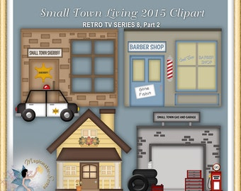 Building Clipart, Barber Shop, Retro TV Series, Small Town Living 2
