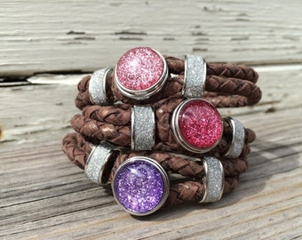1 Dark Brown Leather Snap Jewelry Bracelet with silver accent and 1 Glitter Snap (choose your favorite color)