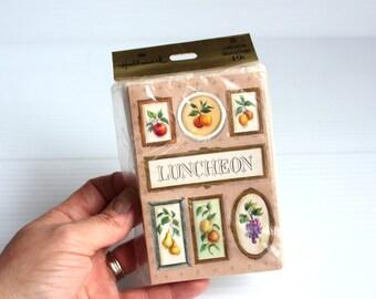 LUNCHEON INVITES, Vintage Hallmark invitations, Vintage invitations for lunch, vintage paper ephemera, invitations with fruit,luncheon cards