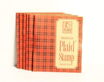 PLAID STAMPS Saver Book, Vintage stamp saver book, vintage paper ephemera, vintage decor,movie prop,play prop,retro ephemera,red stamps book