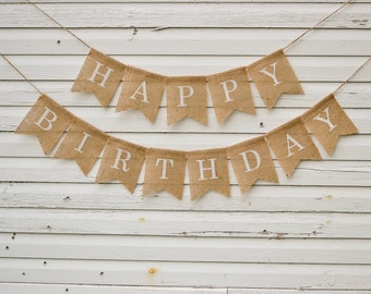 Happy Birthday Burlap Banner - Custom Name Party Bunting Sign - Great for 1st 30th 50th Birthday Decoration