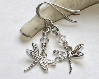 Dragonfly Sterling Silver Earrings with Crystal bead Accent, pierced earrings FREE SHIPPING Dragonfly earrings