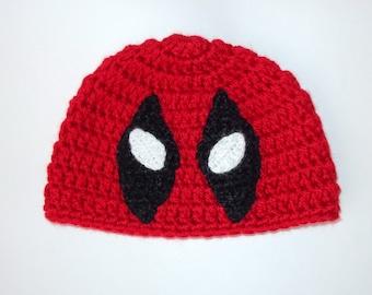 Deadpool Marvel Hat, Deadpool Beanie Mask- Superhero Hat  Superhero Mask- Newborn Child Teen Adult - Halloween / Cosplay