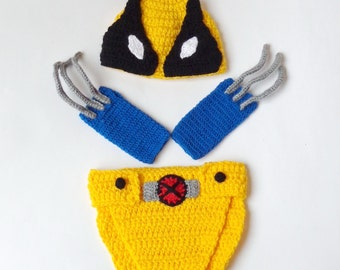 Wolverine Marvel Costume Hat And Diaper Cover With Gloves, Beanie Superhero Newborn X-Men Halloween Cosplay