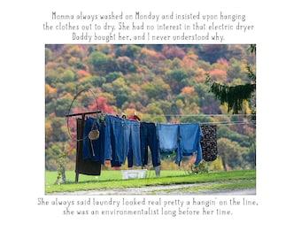 Nostalgic laundry photo print with text, mother's day, clothesline photo poem