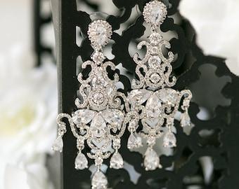 Sterling Silver Crystal Earrings Wedding Accessories Swarovski Chandelier Earrings Bridal Bride Jewelry Wedding Earrings Crystal Drops E153