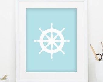 Ship Wheel Print Ship Wheel Wall Art Blue Beach Print Blue Coastal Decor Nautical Nursery Blue Beach Decor Blue Nautical Print 0095