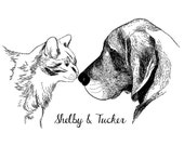 Custom PET Portrait, 2 pets, digital black and white drawing, unique gift for birthday, pet lovers, children, family… ! Cat, dog, rabbit…