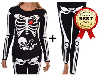Halloween Maternity Shirt and Leggings Skeleton with Neutral Baby True MATERNITY Fit Costume - Includes Shirt and Leggings