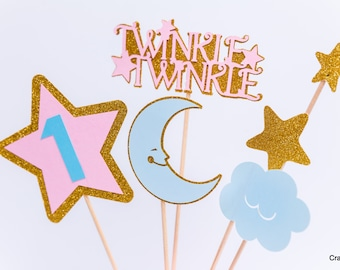 Twinkle Twinkle Little Star First Birthday, Twinkle Little Star centerpiece, Smash Cake Banner, Pink and gold  birthday, Star decor
