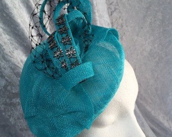 Blue headpiece, Turquoise headpiece, Blue fascinator, blue small hat, turquoise fascinator, turquoise hat