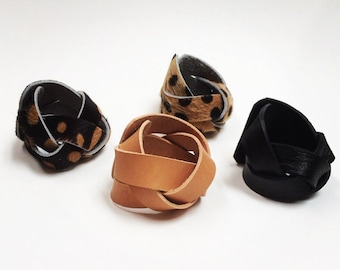 Braided Leather Cuff // Wide simple braided cuff // black, veg tanned, cheetah calf hair