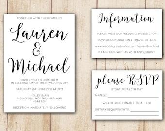 Printable Wedding Invitation Set