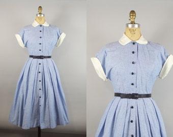 Dotty Blue Dress w/ Peter Pan Collar / 1950s Dress / 50s Cotton Dress