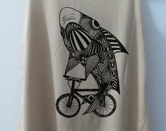 Aztec Shark Bike Tank Top T-Shirt Animal Shirt Women Shirt Funny Women Tunic Top Vest Size S,M,L