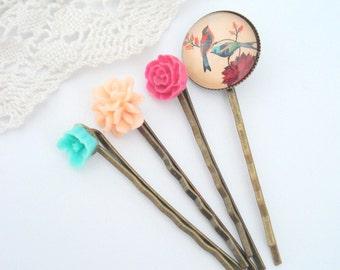 Garden Birds Hair Pins, Pink, Peach, Turquoise, Vintage Inspired, Set of Four