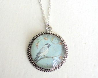 "Little Garden Bird Necklace, Light Blue Necklace, Vintage Bird Jewelry, Antiqued Silver Necklace (1 1/4"" 30mm)"