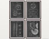 Baseball Poster - Inventions of Baseball - Baseball Set of 4 Prints - Baseball Bat - Baseball Glove - Baseball Art - MLB - Little League
