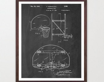 Basketball Wall Art - Basketball Hoop - Basketball Art - Basketball Poster - Patent Poster - March Madness - Basketball Patent