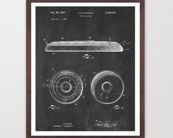 Frisbee Patent - Frisbee Poster - Ultimate Frisbee - Disc Patent - Disc Golf - Disc Golf Patent - Disc Art - Frisbee Wall Art - Flying Disc