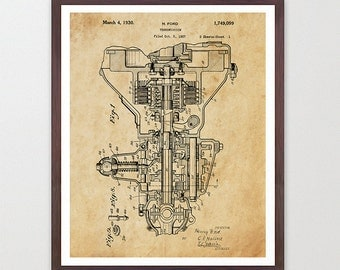Henry Ford - Ford Motors - Engine - Ford Motors Print Automobile Poster - Patent Print - Ford Patent - Car Poster - Vintage Car - Model T