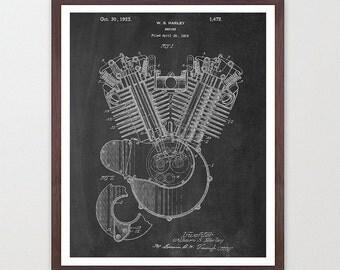 Harley Davidson Poster - Harley Motorcycle Engine Art Print - Motorcycle Art - Patent Print - Patent Poster - Harley Patent - Harley