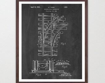 Train Tracks - Train Poster - Railroad Art - Railroad Track Patent - Train Patent - Train Art  - Railroad Poster - Railroad Patent
