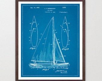 Sailboat - Sailing Poster - Sailing Patent - Vintage Sailboat - Sail Boat - Maritime Poster - Nautical Poster - Maritime Wall Art - Ocean
