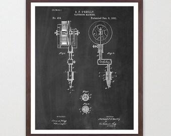 Tattoo Poster - Tattoo Art Print - Vintage Tattoo Machine - Ink - Body Art Poster - Patent Print - Patent Poster