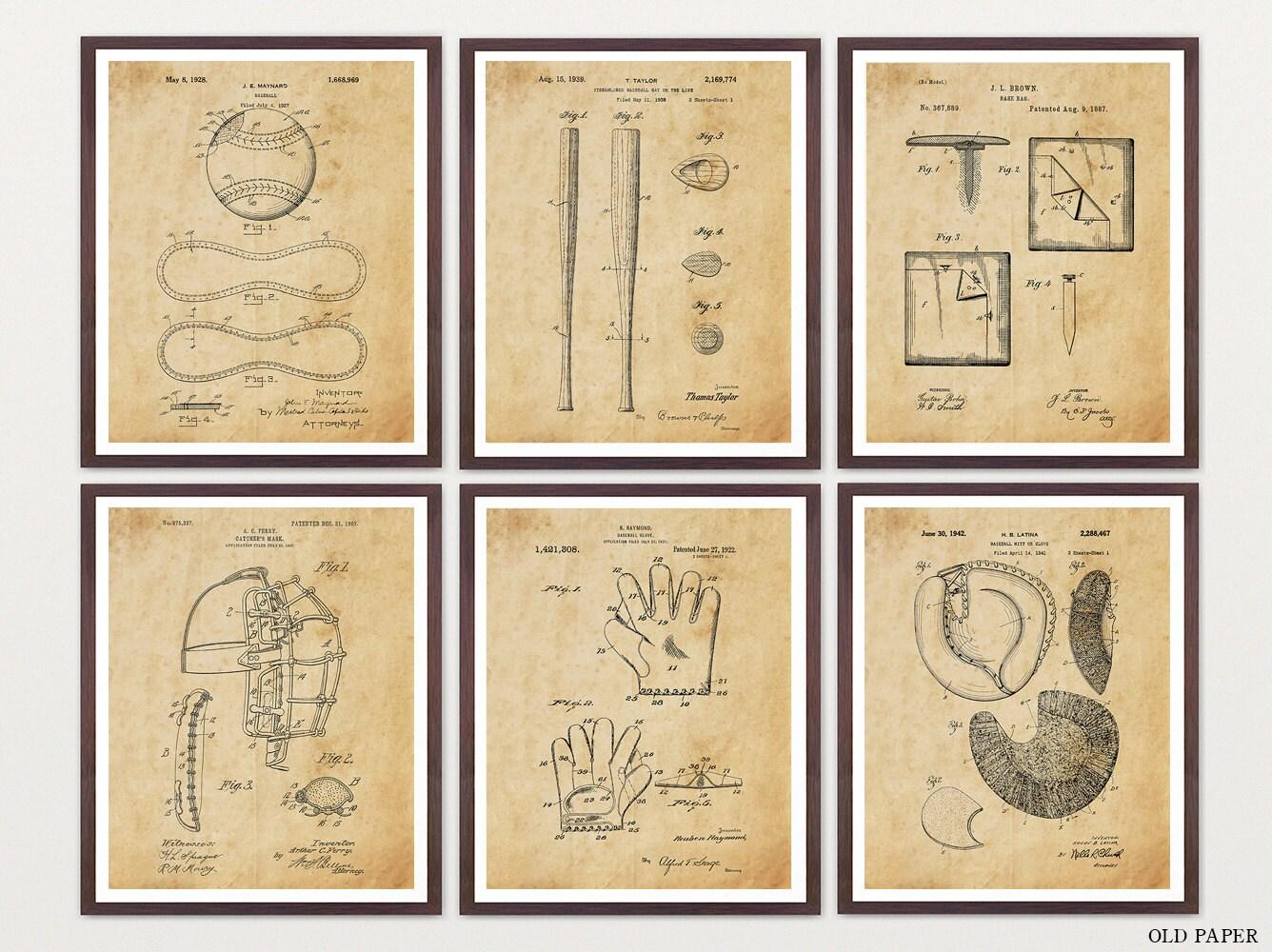 Baseball Patent Print Set - Baseball Art - Baseball Wall Art - Baseball  poster - Baseball Patent - Little League - Boys Baseball - Boys Room