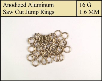 100 Light Gold Aluminum Jump Rings - 1.6mm = 16 gauge (SWG) = 14 gauge (AWG) wire - Anodized 5356 Aluminum - Saw Cut - On sale!!