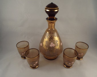 Smokey Brown Decanter with Stopper and Matching 4 shot glasses, Studio Art, Collector's Glass, Vintage Glass, Brown, Smokey Gift under 50