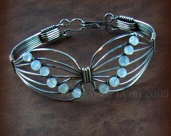 BUTTERFLY BRACELET Sterling Silver Moonstone Beads butterfly bracelets symbol survivor transformation Made To Order