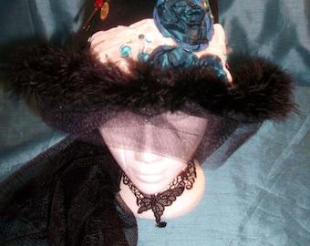 Bespoke/steampunk/goth BowlerHat-velvet -ivory taffeta fabric&teale embellishments