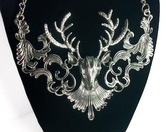 Vintage Silver Deer Head Bib Collar Necklace