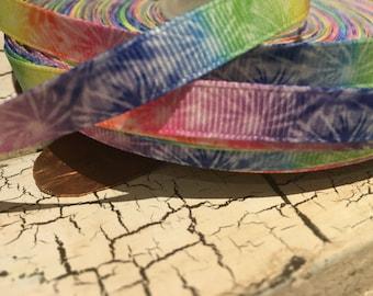 """3 yards 3/8"""" TIE Dye Peace hippie grosgrain ribbon"""