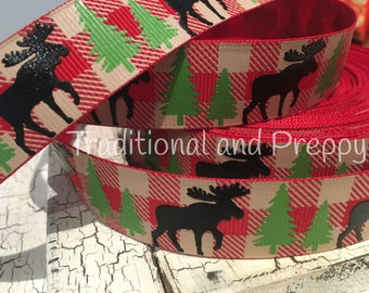 "7/8"" Christmas Buffalo Plaid moose red green tree grosgrain"