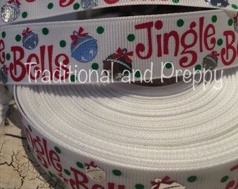 "7/8"" Christmas Jingle Bells Metallic Silver Foil grosgrain ribbon sold by the yard"