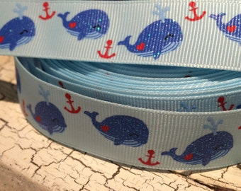 "3 Yards 7/8"" Preppy NAUTICAL NAVY WHALE on Blue Glitter Grosgrain Ribbon"