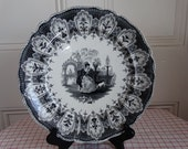 """Circa 1830-49 Ralph Hall and Company Black Transferware Antique Plate in """"The Favourite"""" pattern. Made in England."""