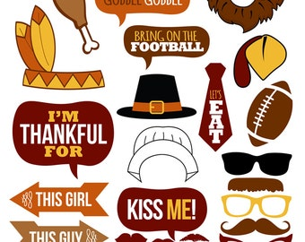 Thanksgiving Photo Booth Props Collection–Printable Instant Download–Photo Booth Props for Thanksgiving Day parties and School parties!