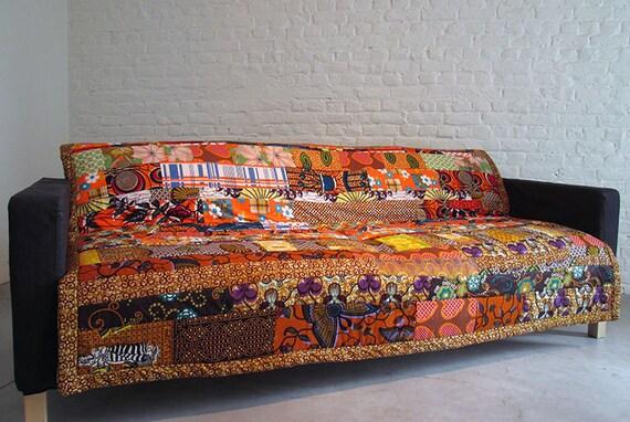 patchwork rug bed cover tapestry blanket quilt african wax. Black Bedroom Furniture Sets. Home Design Ideas