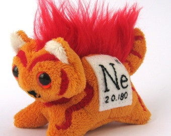 Elemental Cats: Neon - OOAK handmade periodic table science art doll soft toy